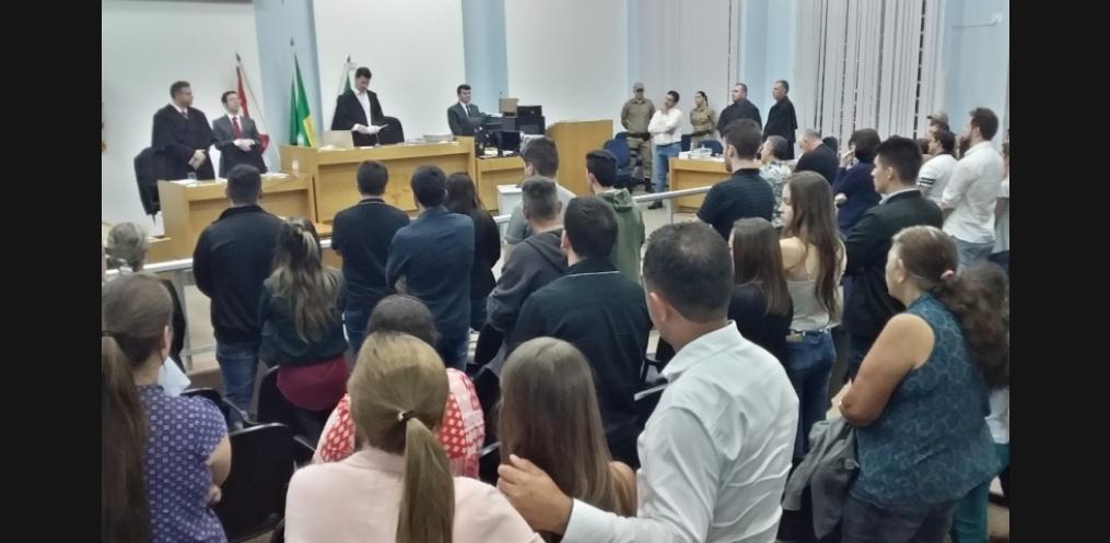 Julgamento do vereador durou 12 horas (Foto: Núcleo de Comunicação Institucional / Comarca de Chapecó)