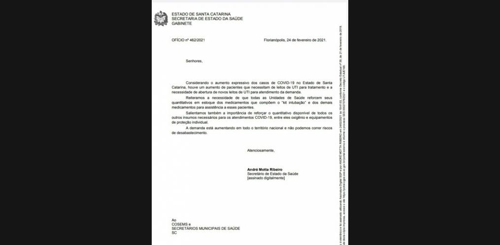 O Secretário também enviou um ofício aos Secretários Municipais de Saúde, com data de quarta-feira