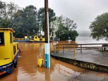 No domingo (12), o nível do Rio Uruguai em Mondaí chegou a cerca de 07 metros acima do normal