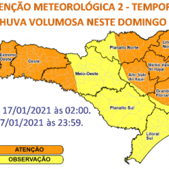 Defesa Civil alerta para risco de temporais no domingo no Oeste