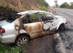 Veículo de SMOeste fica destruído após incêndio na BR-163